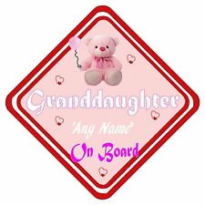 Granddaughter On Board Personalised Aluminum Car Window Sign Have it YOUR way