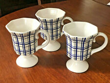 """Spring Living White Cobalt Blue Footed Plaid Check Cup Midwest of Cannon 5"""" New"""
