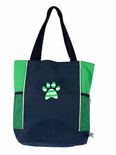 "Green Tote Bag Paw Print Dog Cat Pets 16"" x 15"" Reusable Bottle Pockets New"