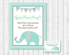 "Mint Green & Grey Chevron Elephant Baby Shower ""Guess How Many?"" Game Cards"