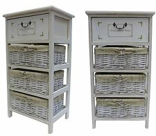 New Shabby Chic Maize Basket Unit 4 Drawer Storage Cabinet Home Furniture UK