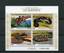 Niger 2015 MNH Snakes 4v M/S Reptiles Fauna Pythons Vipers Cobras