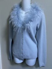 MENDOCINO 50%lambsool, 40%Angora baby blue cardigan sweater with feather ~L