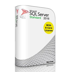 Microsoft SQL Server 2016 Standard with 8 Core License, unlimited User CALs, New
