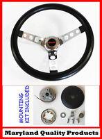 "C15 C25 C35 C1500 Jimmy Black and Chrome Steering Wheel GMC center cap 14 1/2"""