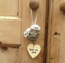 Shabby Personalised Chic Heart Willow Stringer Thank You Gift Any Names Etc..