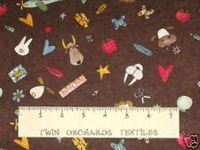Cotton Fabric Quilt School Supplies Animals 1/2 Yards