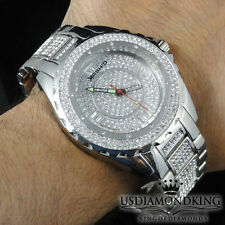 FULL ICED OUT NEW MEN'S SIMULATED CRYSTAL WHITE GOLD FINISH WRIST WATCH