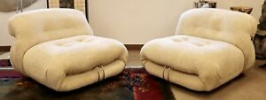 Mid Century Modern Tobia Scarpa Cassina Soriana Pair Boucle Lounge Chairs 1970s