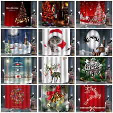 Campana de árbol de Navidad Ciervo Impreso Impermeable Baño Cortina de ducha 12 Gancho Nuevo