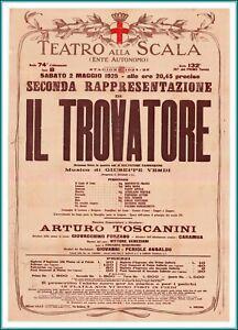 "Original Vintage POSTER of ""Il Trovatore"" at ""La Scala"" - Milan – Italy - 1925"