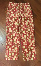 Talbots Pure Silk Size 10 Geometric Abstract Print Orange Red Pants Trousers
