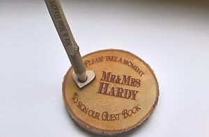 RUSTIC WEDDING GUEST BOOK PEN AND HOLDER PERSONALISED WITH ANY NAMES AND DATE
