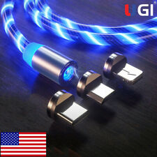 US LED Flowing Lightup Magnetic Fast Charging Cable For Type-C Micro USB Charger