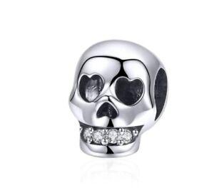 925 Sterling Silver Zircon Skull Charm For Bracelets