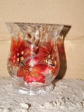 YANKEE CANDLE AUTUMN LEAVES CRACKLE GLASS VOTIVE HOLDER NWTS RETIRED