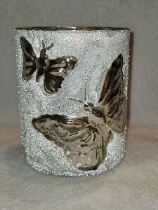 Windlicht Schmetterling - bell arte - 10 x 12,5 cm - weiß