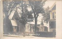New York NY Real Photo RPPC Postcard c1910 MT VERNON Trinity Church Building