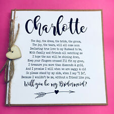 Will you Be My Bridesmaid Poem Card Personalised Rustic Style