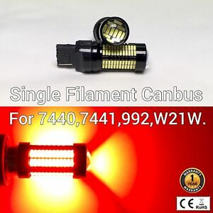 Front Turn Signal Lights T20 W21W 7440 7441 992 108 SMD Red LED Bulb M1 MAR