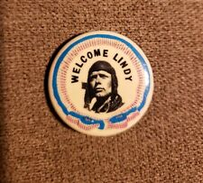"1927 CHARLES LINDBERG Spirit of ST Louis 1.25"" Pinback Pin Welcome Lindy"