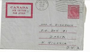 Stationery: Canada KGVI 15c Red Air Letter used to Nigeria
