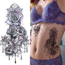 Sexy Purple Rose Pendant Tattoo Temporary For Women-Body Art Fake-Tatoo Sticker.