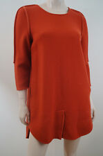 3.1 PHILLIP LIM Profondo Arancione Lana 3/4 Manica Mini Abito Foderato turno di US10; UK14