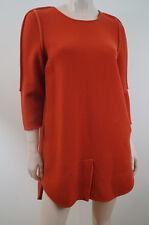 3.1 PHILLIP LIM Deep Orange Wool 3/4 Sleeve Lined Shift Mini Dress US10; UK14