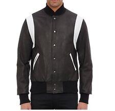 WESTBROOK XO BARNEYS NY Varsity Golden Bear Black Perforated Leather Jacket L US