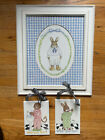 KELLY B. RIGHTSELL SET - Bunny Print Framed and 2 Nursery Kids Bathroom Plaques