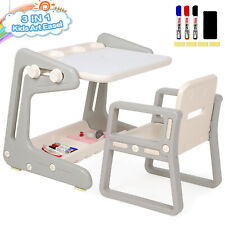 3-in-1 Kids Study Desk Chair Set Adjustable Drawing Table with Storage Shelf