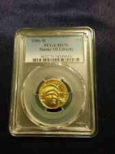 1986 W Statue of Liberty $5 Gold Coin PCGS MS70