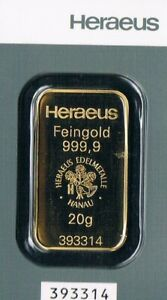 1 Goldbarren HERAEUS 20 Gramm Feingehalt Gold 999,9 LBMA Zertifiziert Neu 2021