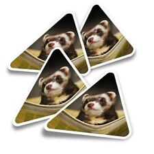 4x Triangle Stickers - Ferret Hammock Pet Rodent Animal #16329
