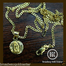 Round Mama Mary Pendant w/ Cuban Link Chain 14k Solid Yellow Gold ON SALE!!!!!!