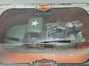 NEW die cast 1:24 1948 Ford F-1 Pickup & 1942 WLA Harley Flathead (MIB) Maisto
