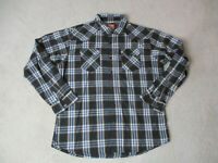 Wrangler Pearl Snap Shirt Adult Extra Large Brown Blue Plaid Western Cowboy Mens