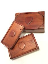 Rare Set of Oak Arts & Crafts Trio Nesting Wooden Boxes: Folk Art