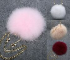 Kwaii Multi Color Fluffy Feather Fur Chain Bag Mini Purse Round Clutch Wallet