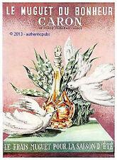 PUBLICITE CARON PARFUM LE MUGUET DU BONHEUR COLOMBES FLEUR DE 1958 FRENCH AD PUB