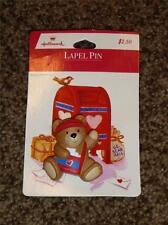 Vintage Hallmark Valentine Pin Bear US Mail Carrier Heart 1980's MIP Lapel
