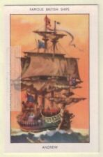 Andrew 1652 English Navy Sail Boat 60+ Y/O Ad Trade Card