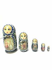 Vintage 5 Pieces Matryoshka Russian Fairy Tale Nesting Doll Royal Navy Blue Gold