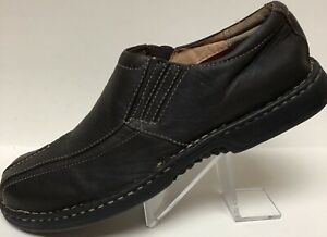 Mens Clarks Size 10M Brown Leather Moc Bicycle Toe Casual Loafers SlipOns