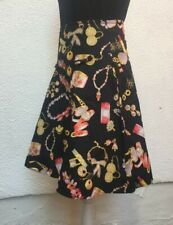 Ladies Skirt UK 10  Black 38 Skater Cotton Jewellery Knee Make up Get Cutie Co