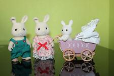Sylvanian Families White Rabbit family and Pram