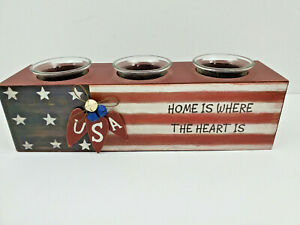 All American 3 Candle Holders In Wood Base Red White And Blue Colors