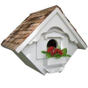 New HOME BAZAAR Little Wren White Hanging Bird House Small Nesting HB-2044WS