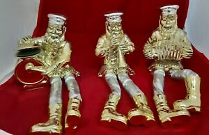 Silvered & Golden Polyresin Sitting playing A Hassidic Figurine ,With Cloth Legs